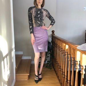 Lilac Leather Danier Skirt